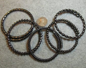 Simple Hematite Bracelets- Singles or lots- Wrap around memory wire (stronger than stretch bracelets)  Stackable/Bangle Style/Single Coil