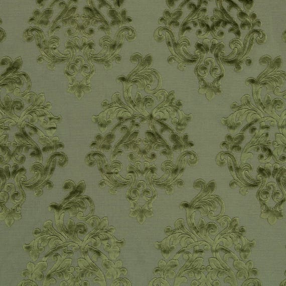 Grey Velvet Damask Upholstery Fabric Large Scale Velvet
