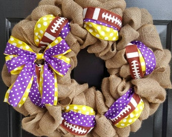 ECU Wreath, LSU Wreath, Fall Burlap Wreath, Minnesota Vikings Wreath,  Burlap Wreath with Purple and Yellow Polka Dot Ribbon and Bow