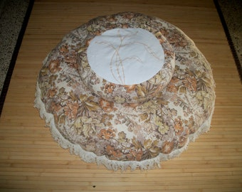 "Zafu Meditation Cushion, and 30"" Pouf. Machine stitched design. O.O.A.K. Handmade, USA. See pix and description for more info."