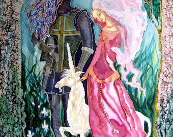 Original Silk  batik handpainted  painting Virgin and Unicorn.