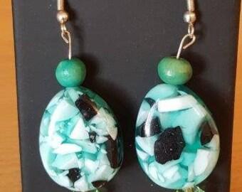 Handmade Aqua & Black dangly earrings