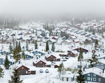 Snow Covered Winter Town Homes Art Print Wall Decor Image Detail - Unframed Poster