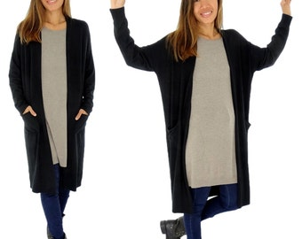 HR100SW jacket ladies Cardigan knit coat Verschlusslos Gr. 32-42 black