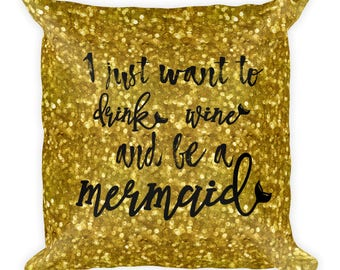 Drink Wine Mermaid Square Pillow