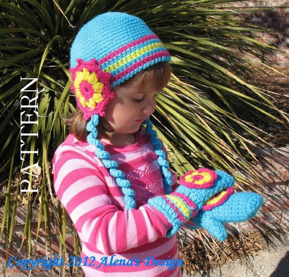 Crochet PATTERN Set  Alicia Hat and Childrens Mittens Flower Ear Flaps with Curly Ties Baby Girl Toddler Children Teen/Adult Winter Hat