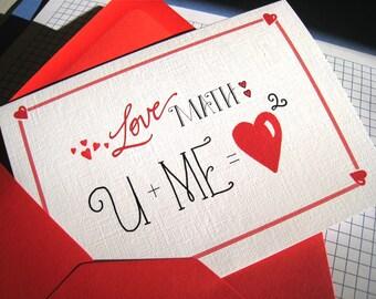 Geek Valentine Card - Math Nerd, Math Teacher Love Card - Anniversary Card
