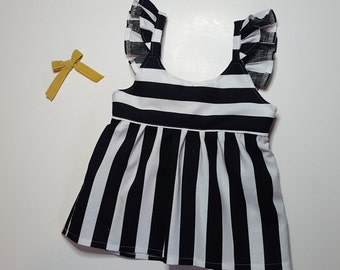Handmade toddler/girls black and white striped tie back top