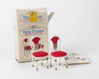 Ideal Petite Princess Guest Dining Chairs 150 red dollhouse furniture vintage