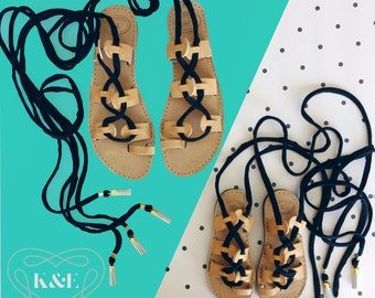 Mommy & Me Greek Summer Leather Gladiator Sandals-Children and Adult Fabric Wrap Up Laces and Leather tassels