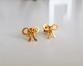 Gold Vermeil Knot Studs, Bow posts, Gold-Plated Earrings, Love Jewelry, Girly and playful