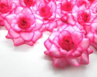 24 Hot Pink Edge mini Roses Heads - Artificial Silk Flower - 1.75 inches - Wholesale Lot - for Wedding Work, Make Hair clips, headbands