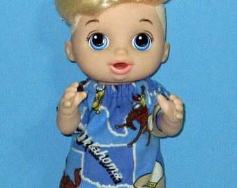 Baby Alive Snackin Luke ,Baby Alive Sweet Spoonfuls, Western Cowboy Pajama Set, Boy Doll Clothes, 12 13 inch Doll Clothes, Outfit