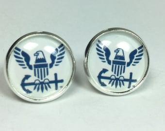 Navy Earrings Navy Jewelry Military Jewelry Navy Seal Earrings
