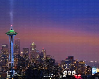 Seattle Beautiful Colors Sky Skyline Nighttime Before Super Bowl City Buildings Landmarks Lighted in Seahawks Colors Blue Green Space Needle
