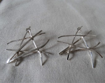 "sterling silver ""criss cross"" earrings, posts, one of a kind"