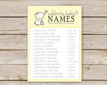 Yellow Elephant Baby Shower Celebrity Baby Name Game - Printable Download - Yellow Neutral Baby Shower Game - Yellow Celebrity Baby Game