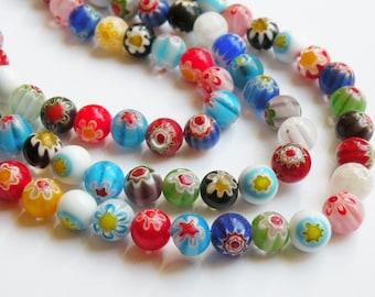Multicolored Millefiori Flower Beads round ball 10mm full strand PLK04