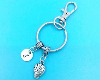 Strawberry Keychain, Strawberry Key Chains, Strawberry Charm, Strawberry Keyring, Personalized Keychain, Strawberry Key Ring, Charm Keychain