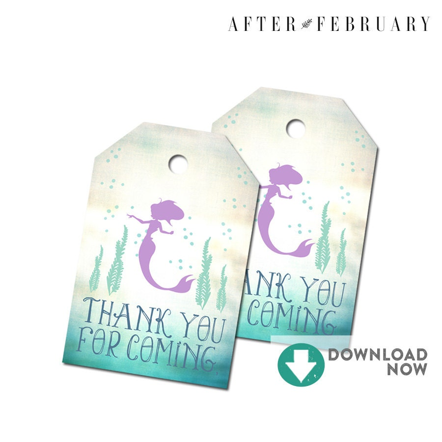Mermaid baby shower favors tag thank you gift tag printable baby this is a digital file negle Image collections