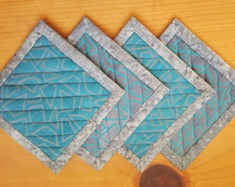 Quilted Coaster Set - in Charcoal and Turquoise Graphics