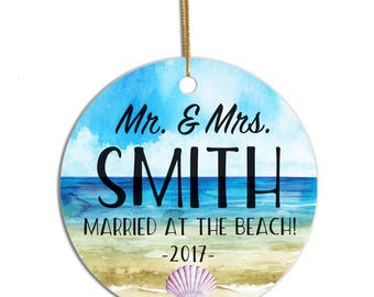 Beach Ornament, Beach Wedding, Personalized Wedding Ornament, Just Married Ornament, First Christmas Married, Mr and Mrs, Christmas Ornament