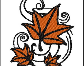 Leaves Fall Embroidery Design
