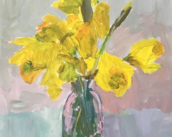 Still life,Daffodil painting, original painting acrylic on 10x8 inch gessobord modern impressionist Christine Parker fine art Valentine gift
