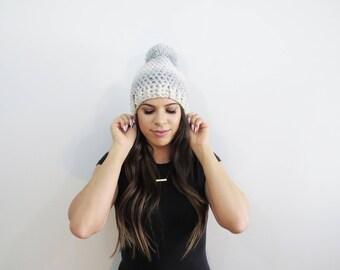 White Silver Pom Pom Hat. Chunky Pom Pom Beanie. Nodric Snowfall Pom Pom. Ombre Beanie. Womens Pom Pom Hat. Womens Winter Hat. Sprarkle Hat.