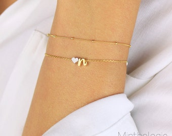 Heart Initial Bracelet B4 • personalized lowercase cursive monogram dainty delicate stacking bridesmaids gift