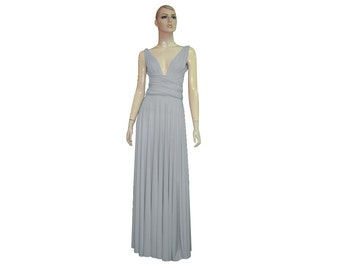 Convertible Bridesmaid Dress Light Grey Dress Long Infinity Dress Wrap Multi Way Dress XS-5XL