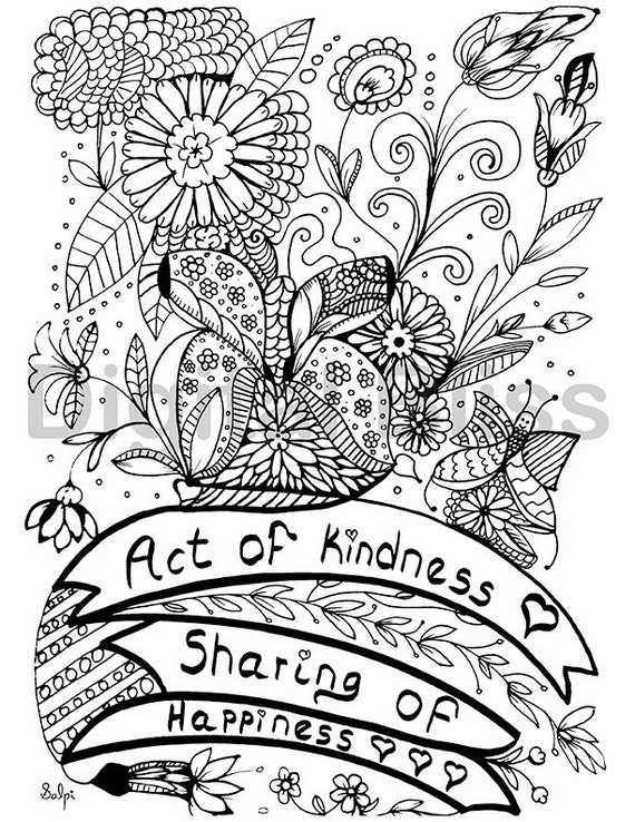 INSTANT DOWNLOAD Adult Coloring Page Design Colouring Act Of Kindness Kids Craft Activity From DigitalBliss On