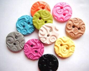 Button Textured Swirls handmade polymer clay buttons ( 6 )