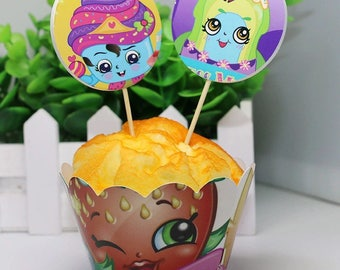 12 sets Shopkins Cupcake toppers and wrappers