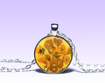 Vincent van Gogh Sunflowers NECKLACE Picture Jewelery Charm Pendant for Him or Her
