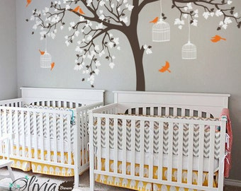 Large Maple Tree with Birds Vinyl Wall Decal for Nursery - NT012