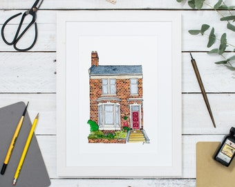 Personalised House Portrait: Original Ink Watercolour Building - Housewarming Gift - Bespoke  Art - Illustrated Home Portrait - Custom Art