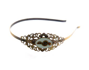 Vintage treble clef note music blue clear bronze alice lace headband