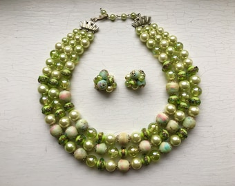 50's Rockabilly 3 Strand Graduated Kiwi Chartreuse Green Beaded Necklace Vintage w Clip On Cluster Earrings Awesome Set Gorgeous