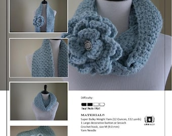 Crochet Pattern-Rosette Infinity Scarf