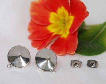 Stainless Steel Rivoli Earring Findings, 12 mm