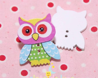 2 buttons wood owls multicolor 1 35 / 28mm