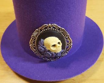 Mini Purple Top Hat with Skull Cameo