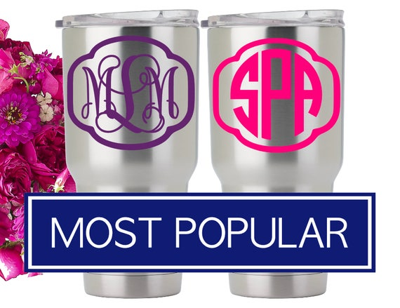 Vinyl Monogram RTIC Monogram Tumbler Vinyl Decal Monograms - Vinyl stickers for cups