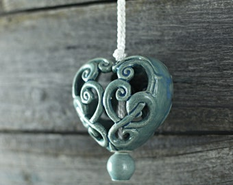 Ceramic carved heart - Blue