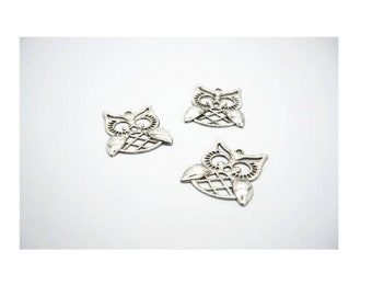 SET of 3 charm large owls OWL 3cm silver plated (Z04)