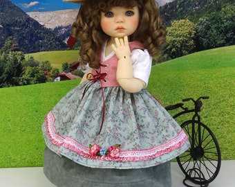 Alpine Beauty - dirndl with apron and undergarments for American Girl doll with boots