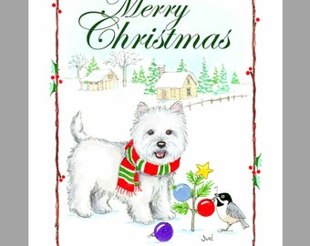 West Highland White Terrier Christmas Cards Box of 16 Cards and 16 Envelopes