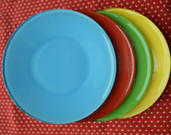 Vintage Snack Plates - Primary Colors - Set of 4