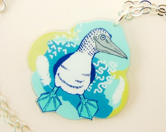 Blue footed booby jewelry, Blue footed booby necklace, Blue footed booby, cute Blue footed booby, animal jewelry, bird necklace, quirky